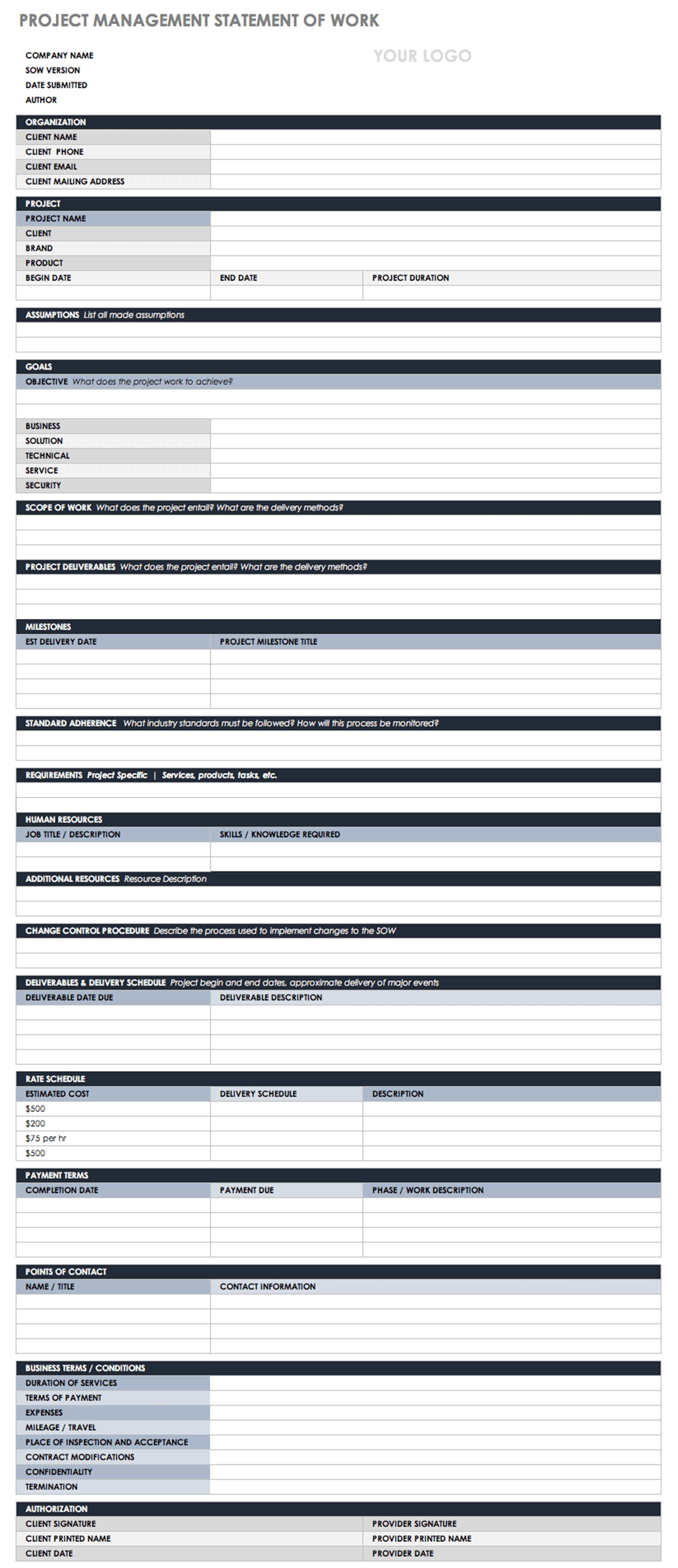 Download Free Statement Of Work Templates