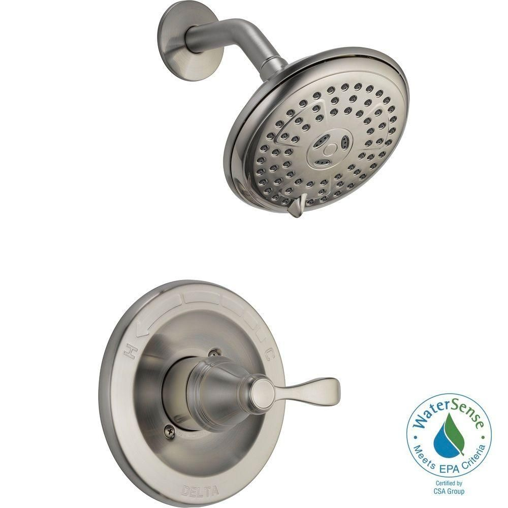 Delta Porter Single Handle 3 Spray Shower Faucet In Brushed Nickel Valve Included 142984 Bn A Shower Faucet Bathroom Shower Faucets Delta Bathroom