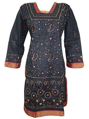 Womans Indian Tunic Kurti Cotton Yoga Dress Caftans Black Embroidered Kurta, Gift Idea Mogul Interior http://www.amazon.com/dp/B00WM7EVY0/ref=cm_sw_r_pi_dp_3rZovb1VYRWZ2