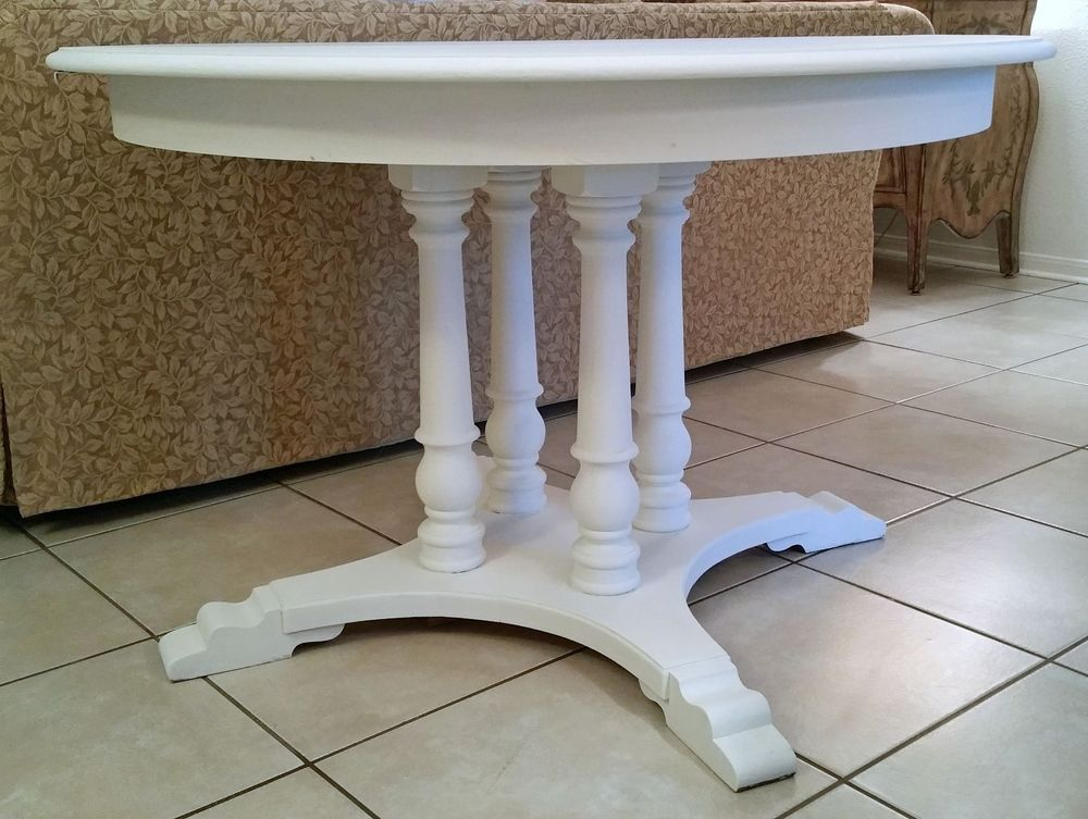 """White Shabby Cottage Chic Antique Pedestal Solid Wood 48"""" Dining Table #RomanticShabby"""