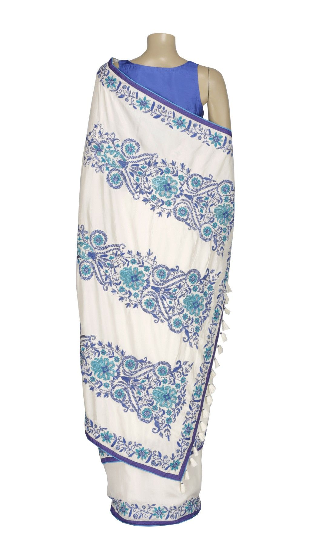 White and Blue Kantha Embroidered Silk Saree
