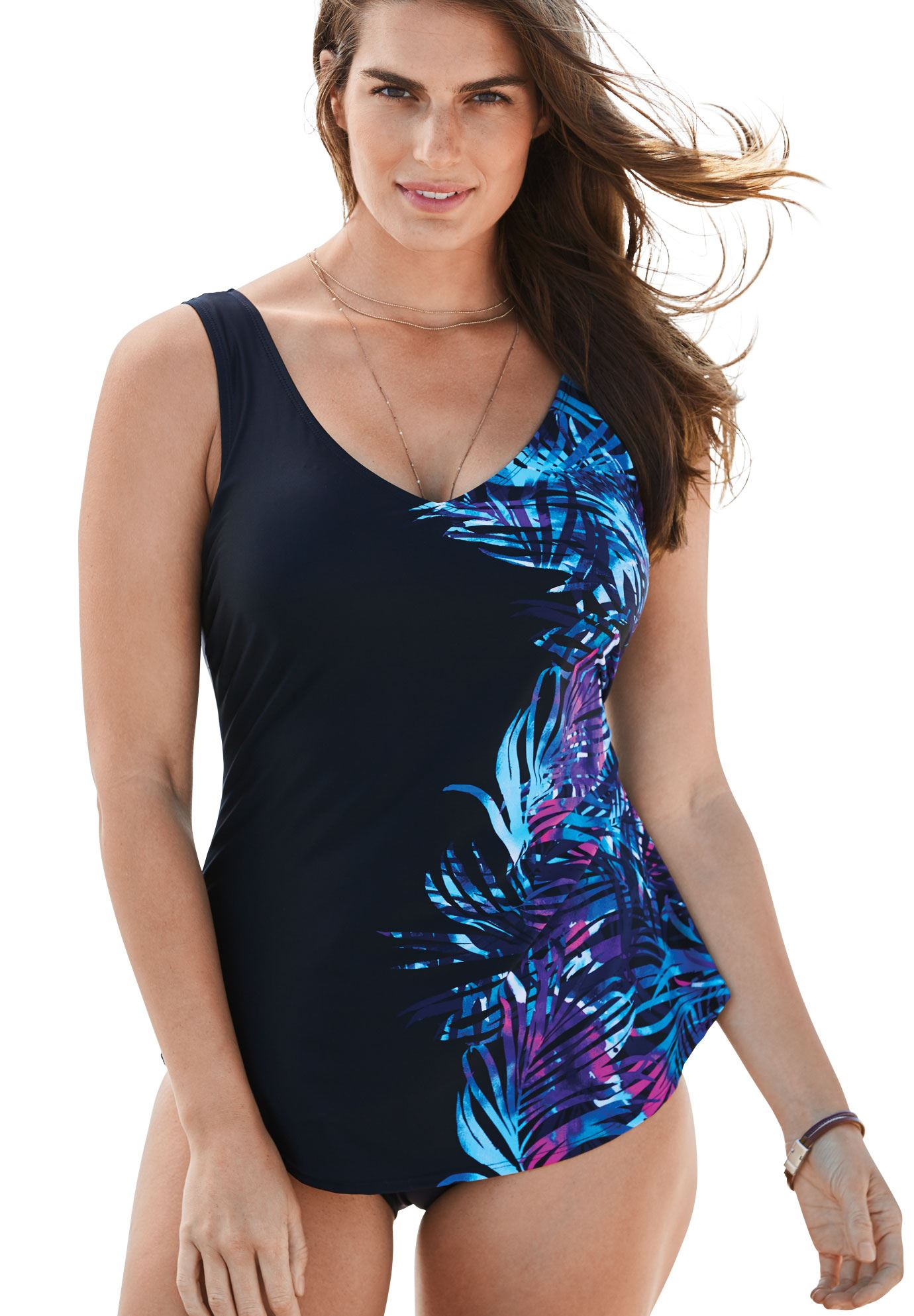 d0362dc0cc0 Sarong-Front One-Piece Swimsuit by Beach Belle - Women's Plus Size Clothing
