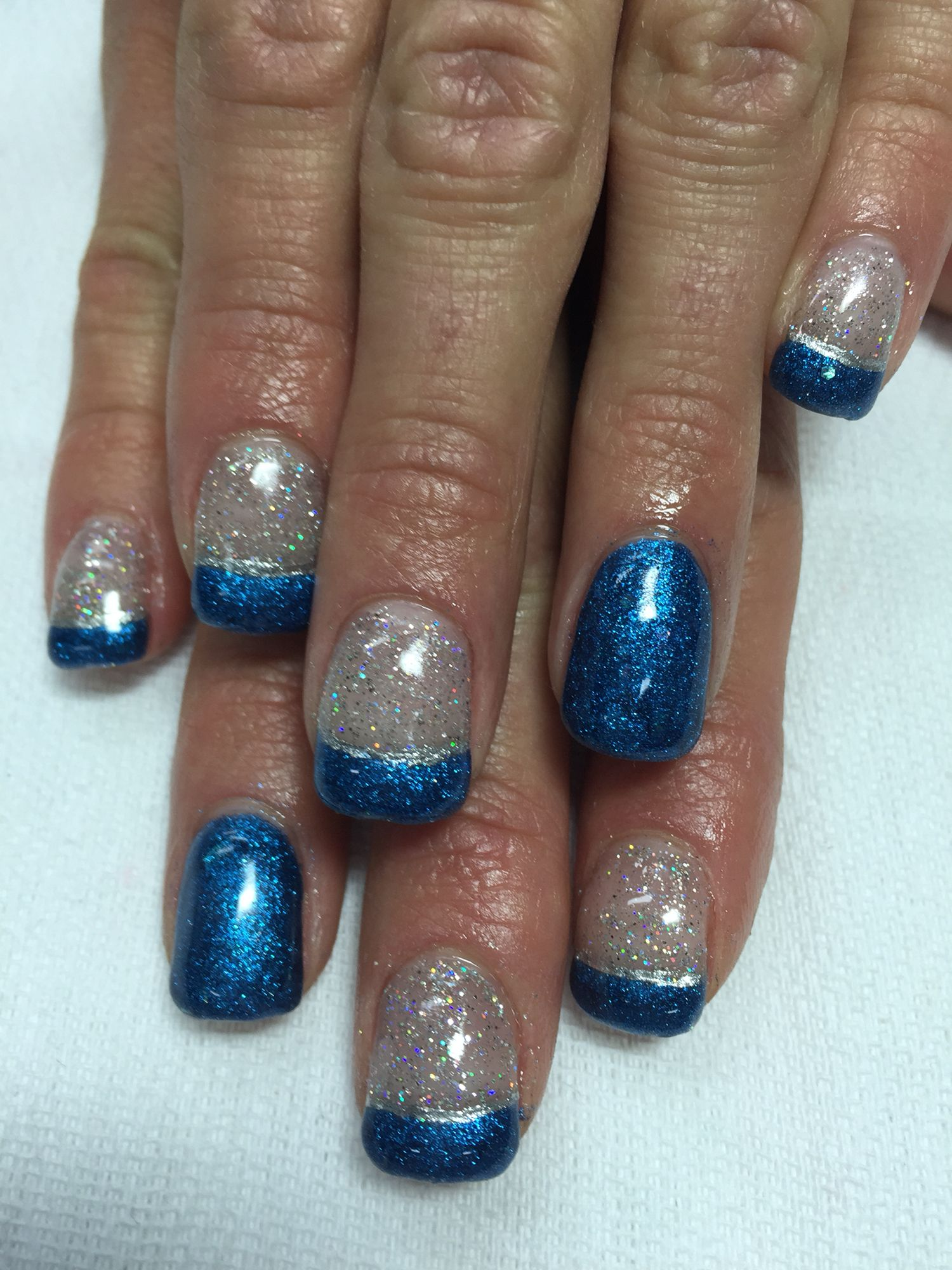 Silver sparkle royal blue French gel nails. New Years bling nails ...