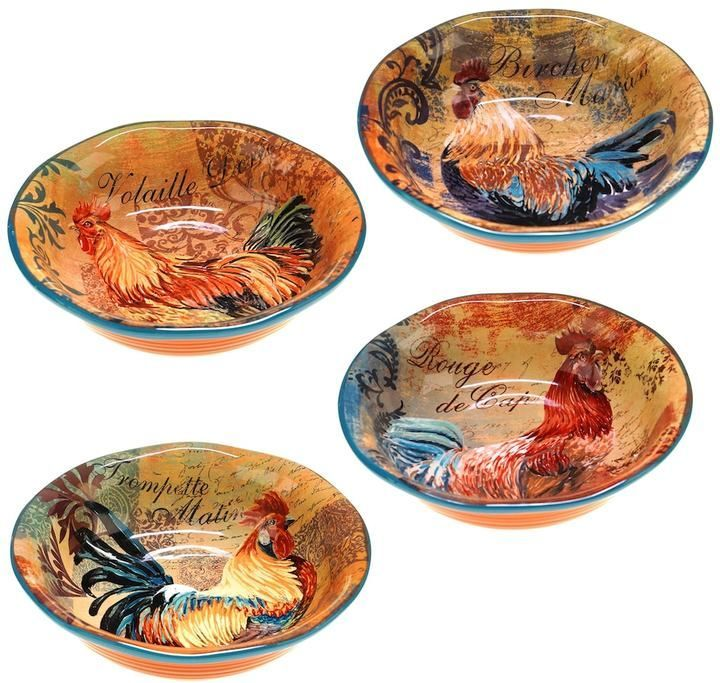 Certified International Rustic Rooster 4 Pc. Pasta Bowl Set