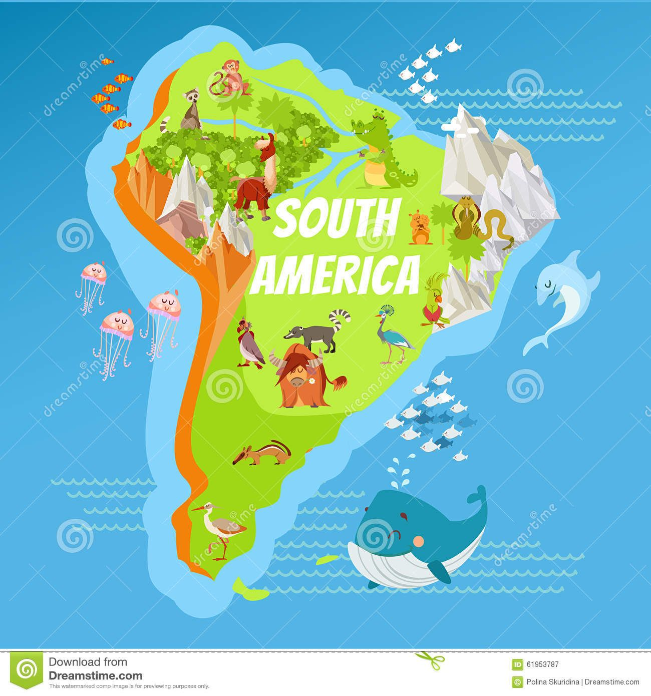 Cartoon South America Continent Geographic Map Download From - Argentina map continent