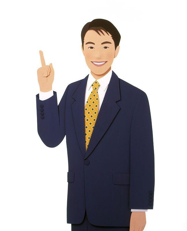 男性イラスト 30歳代指を指すビジネススーツの男性 弁護士相談イラスト