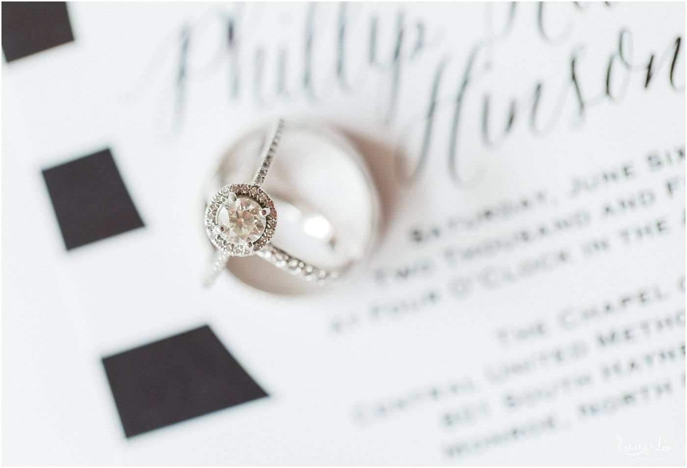Wedding Ring on Wedding Invitation, Black and White Stripe ...