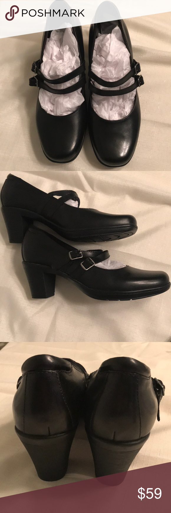 9447e51695740 NWT Clark's Black Leather Mary Jane's Size 8M These Clark's Bendables Black  Leather Mary Jane Heels With Double Straps for added comfort NWT 2.5 inch  Block ...
