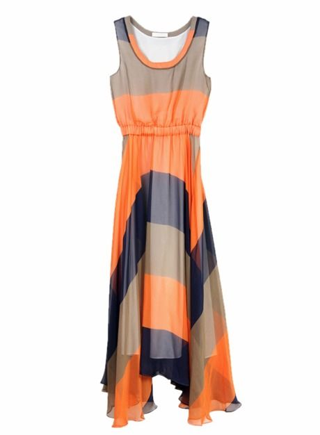 Color Block Elegant Sleeveless Dress