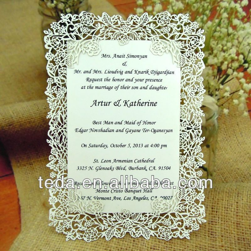 Laser cut rose vine wedding invitation card (Invitation card+ - best of invitation card party wording