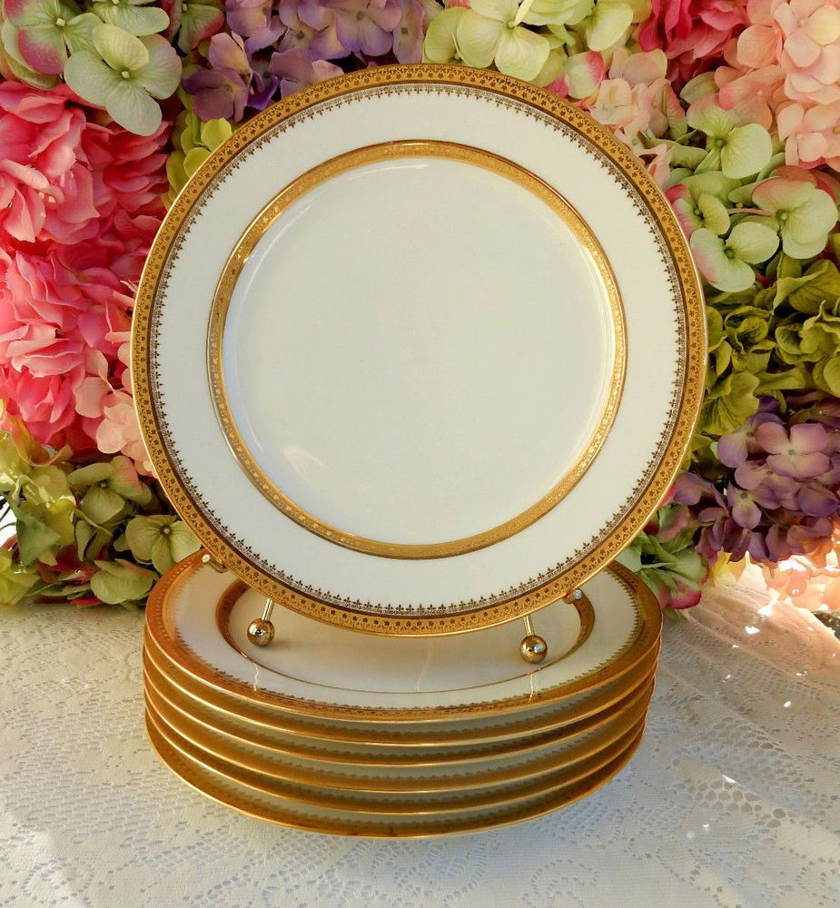 7 Beautiful Vintage Limoges Porcelain Dinner Plates ~ White ~ Gold Encrusted #Limoges & 7 Beautiful Vintage Limoges Porcelain Dinner Plates ~ White ~ Gold ...