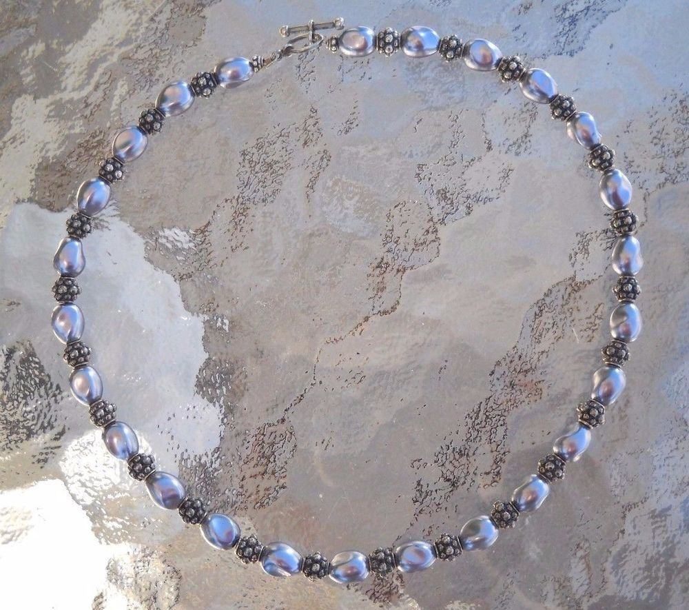#FauxPearl #BlackPearl #Pearl & #925Sterling #925Silver #924SterlingSilver #Sterling #Silver #SterlingSilver #Necklace 38.6g