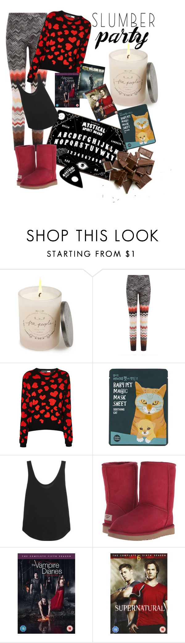 """""""Untitled #101"""" by aniday ❤ liked on Polyvore featuring Free People, Killstar, Missoni, Sportmax, Forever 21, Frame Denim, UGG Australia and slumberparty"""