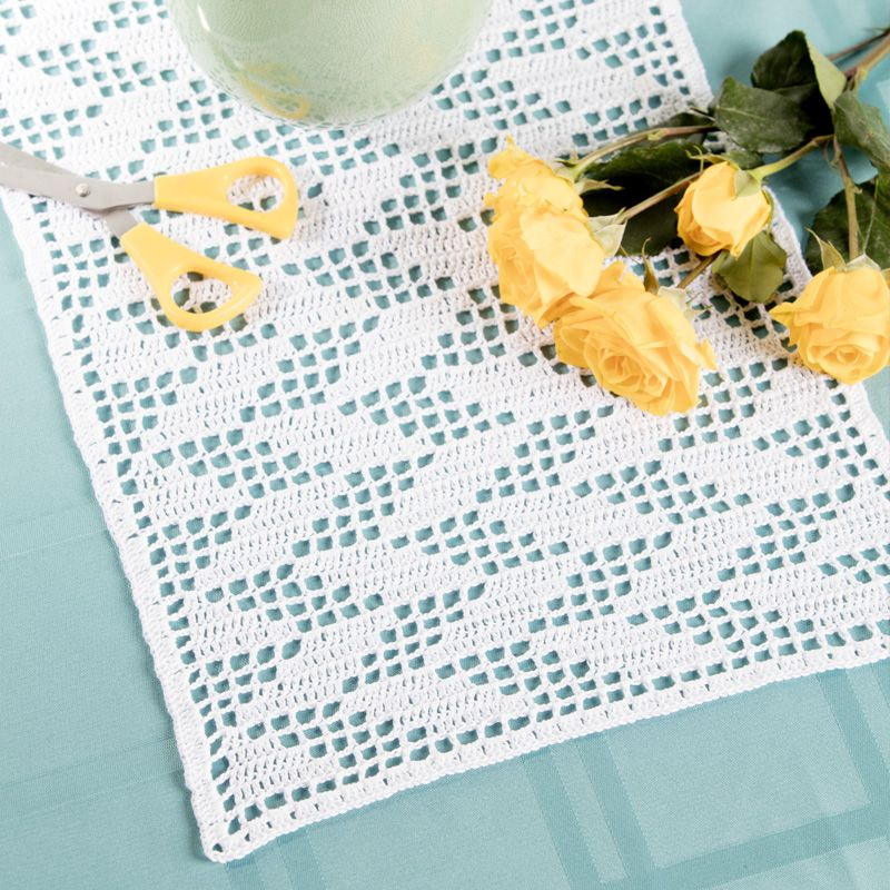 Filet Crochet Table Runner Diy Table Decor Free Crochet Pattern