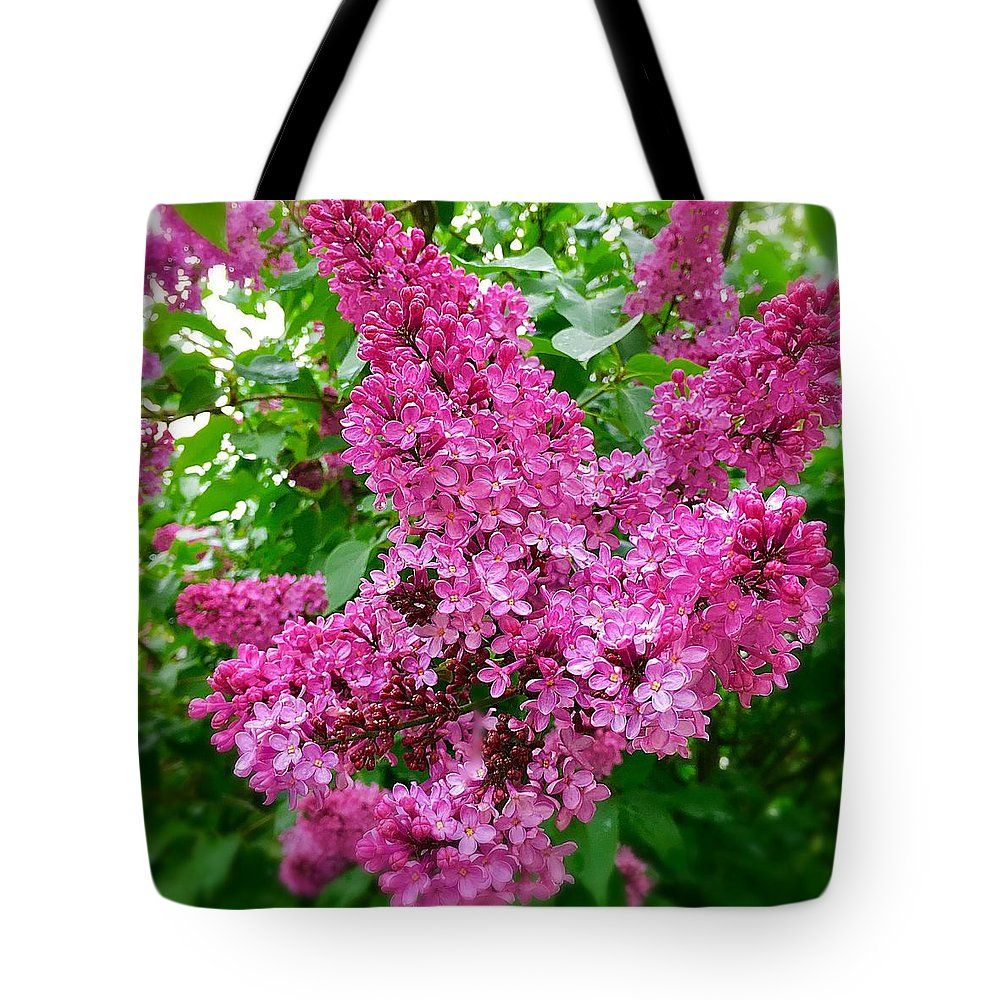 Marina Usmanskaya Tote Bag featuring the photograph Blooming Lilac by Marina Usmanskaya #MarinaUsmanskayaFineArtPhotography #Lilac #ArtForHome #FineArtPrints