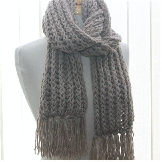 Extra Long Wool Scarf Crochet Unisex Fringed Scarf, mens long scarf ...