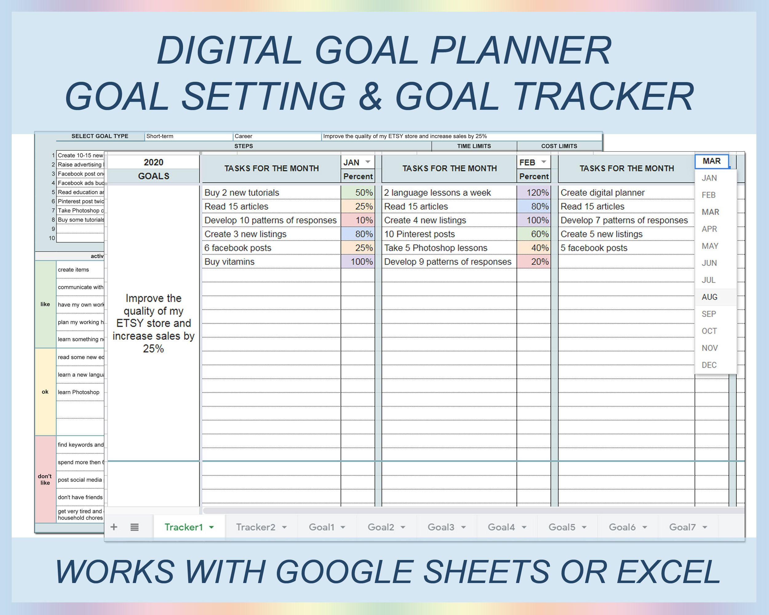 Digital Goal Planner Goal Setting Goal Journal Goal Etsy In 2021 Goal Spreadsheet Goals Planner Goals Worksheet