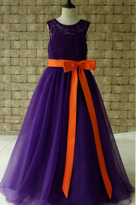 Orange Lace Flower Girl Dresses