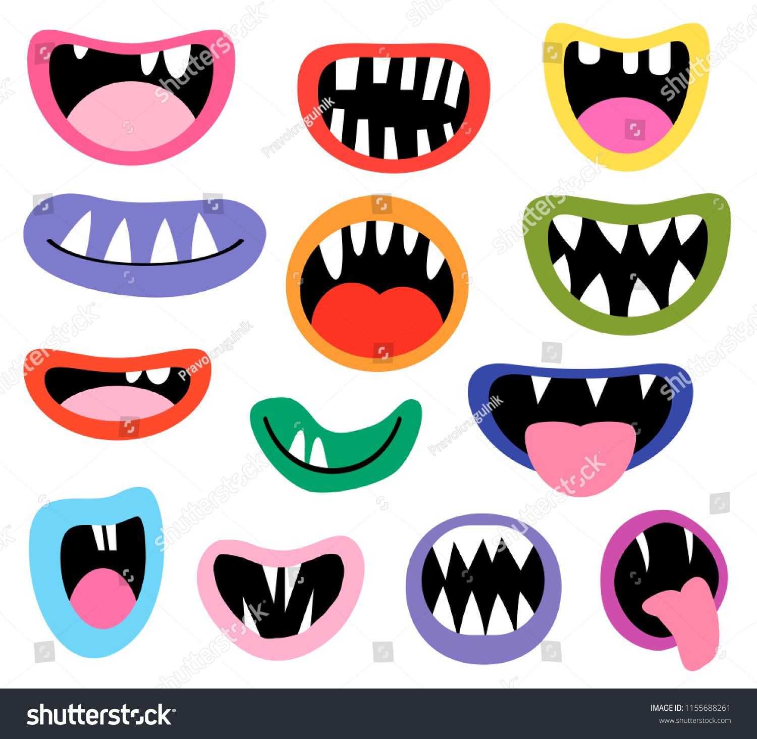 Funny Vector Monster Mouths Open And Closed With Tongues And Teeth For Birthday Party Designsmouths Open Mon Vector Monster Monster Mouth Monster Illustration
