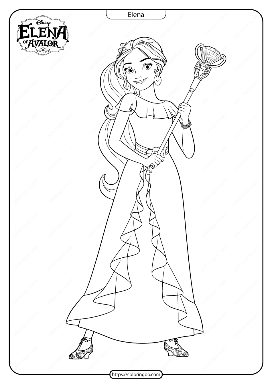 Printable Elena Of Avalor Pdf Coloring Pages  Disney coloring