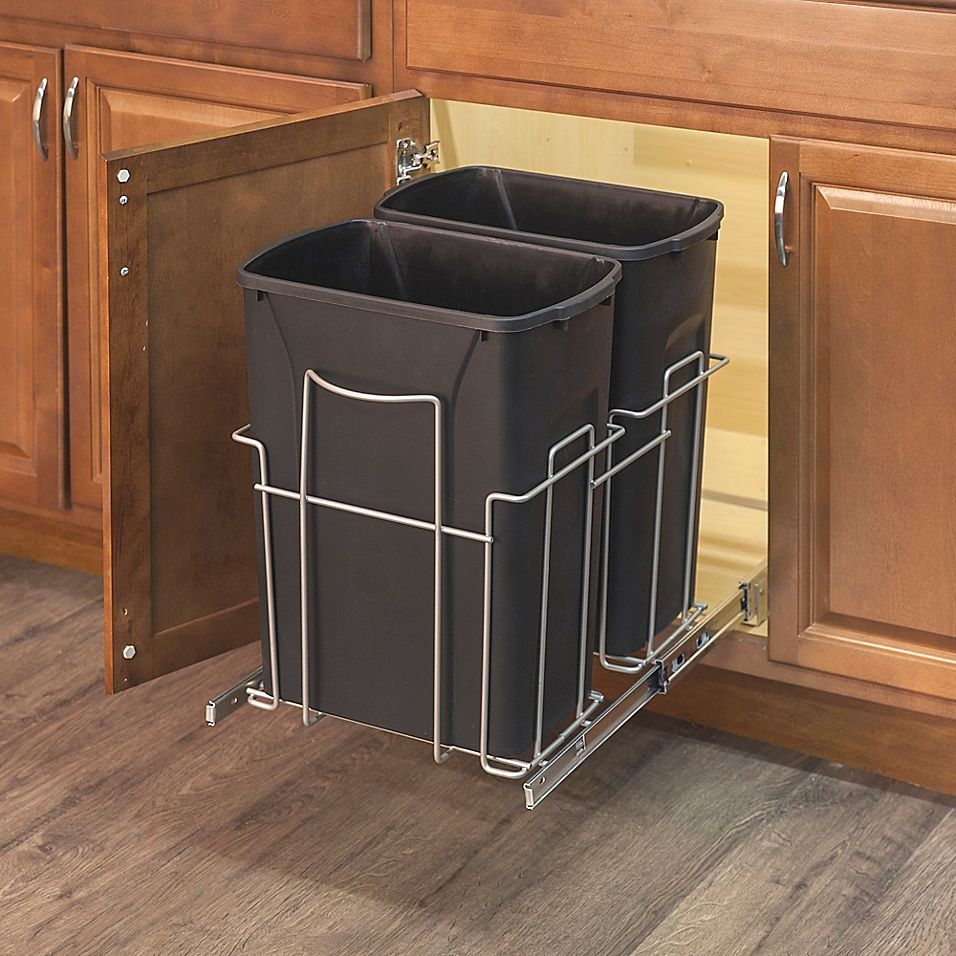 Grayline 3 Piece Dual Trash Can And Slide Out Rack Set In Black In