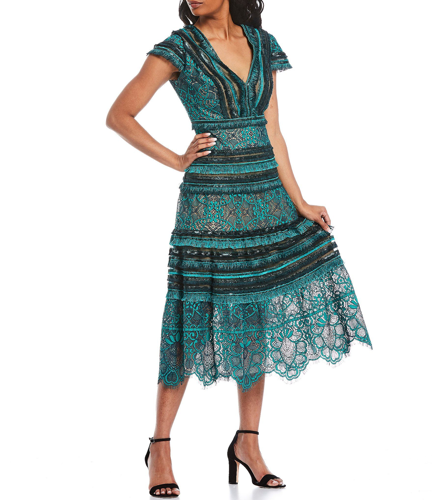 Tadashi Shoji V Neck Texture Lace Midi Dress Dillard S Midi Dress Dresses Lace Midi Dress [ 2040 x 1760 Pixel ]
