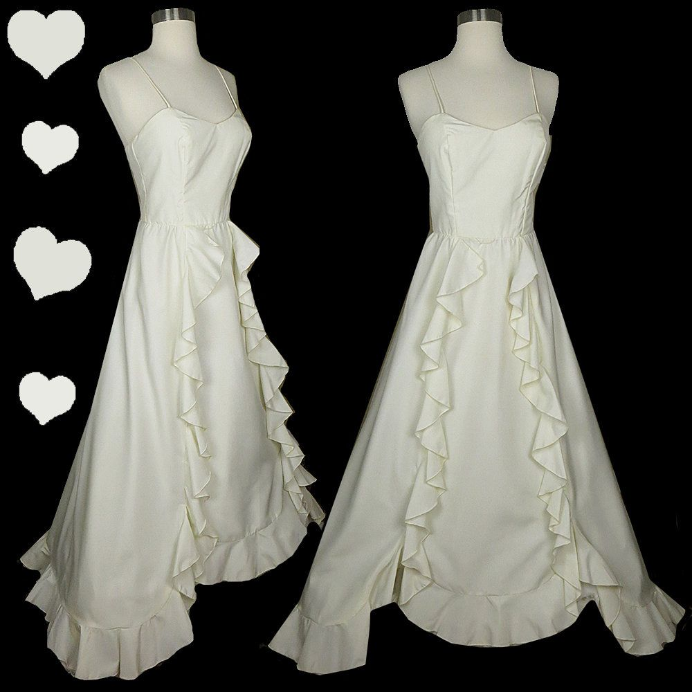 Vintage s ivory ruffle maxi dress xs s pinupdresses