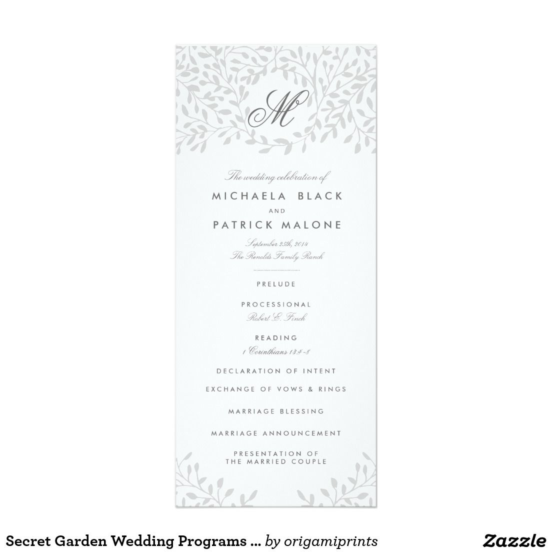 Secret Garden Wedding Programs - Grey | Secret garden weddings ...
