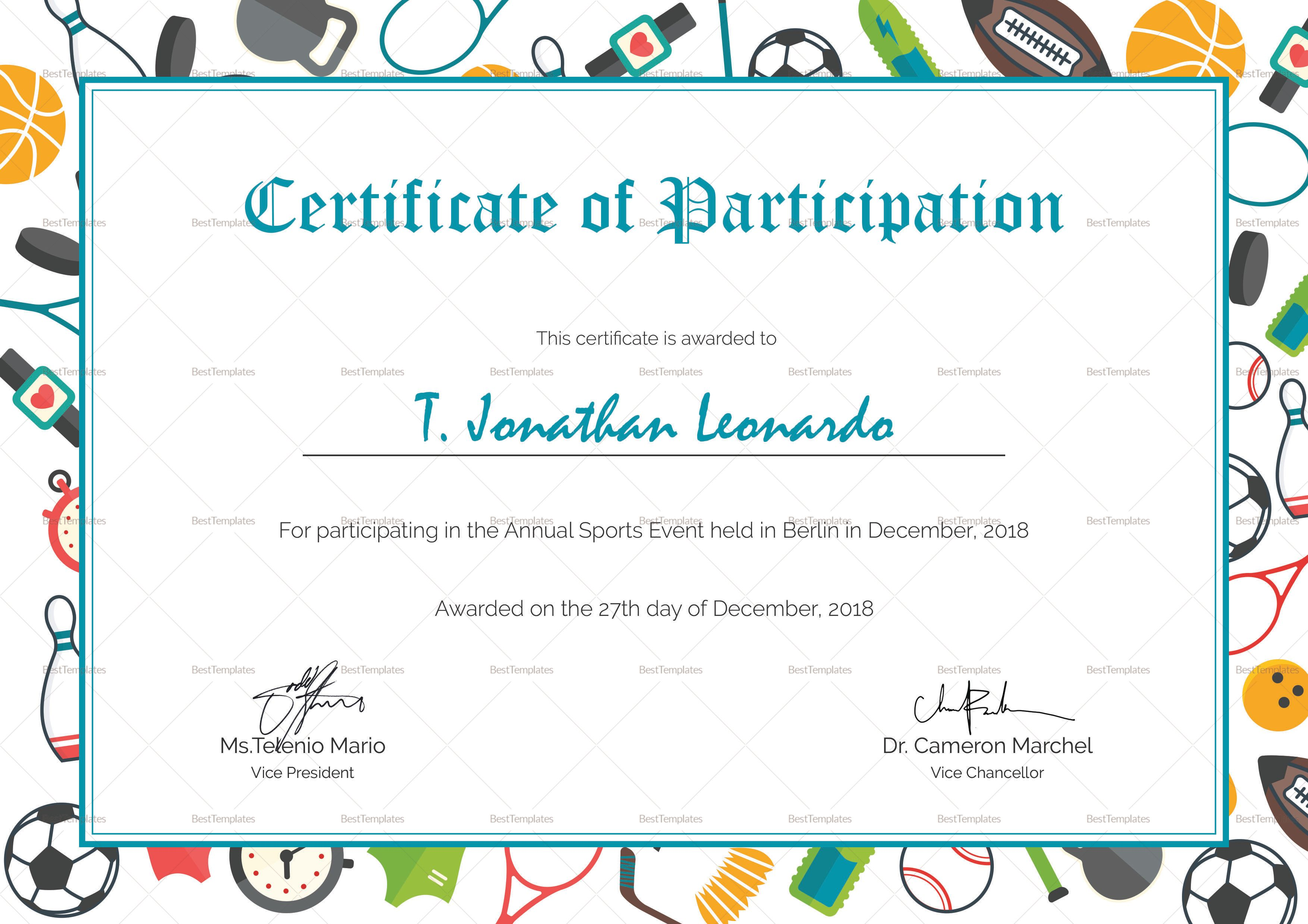 Sports Participation Certificate Template Certificate Of Participation Template Sports Day Certificates Certificate Design Template Sports program template microsoft word