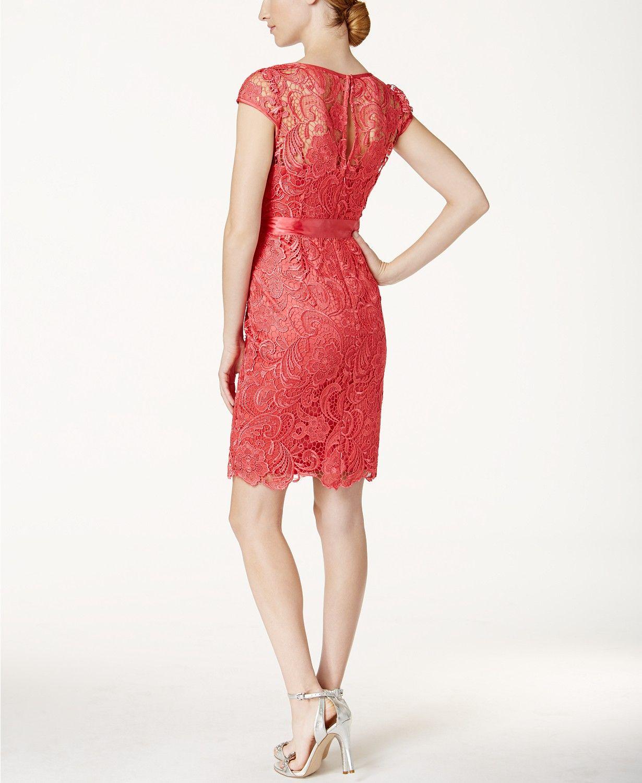 4463b366f50 Adrianna Papell Lace Cap-Sleeve Illusion Sheath Dress Women - Dresses -  Macy s