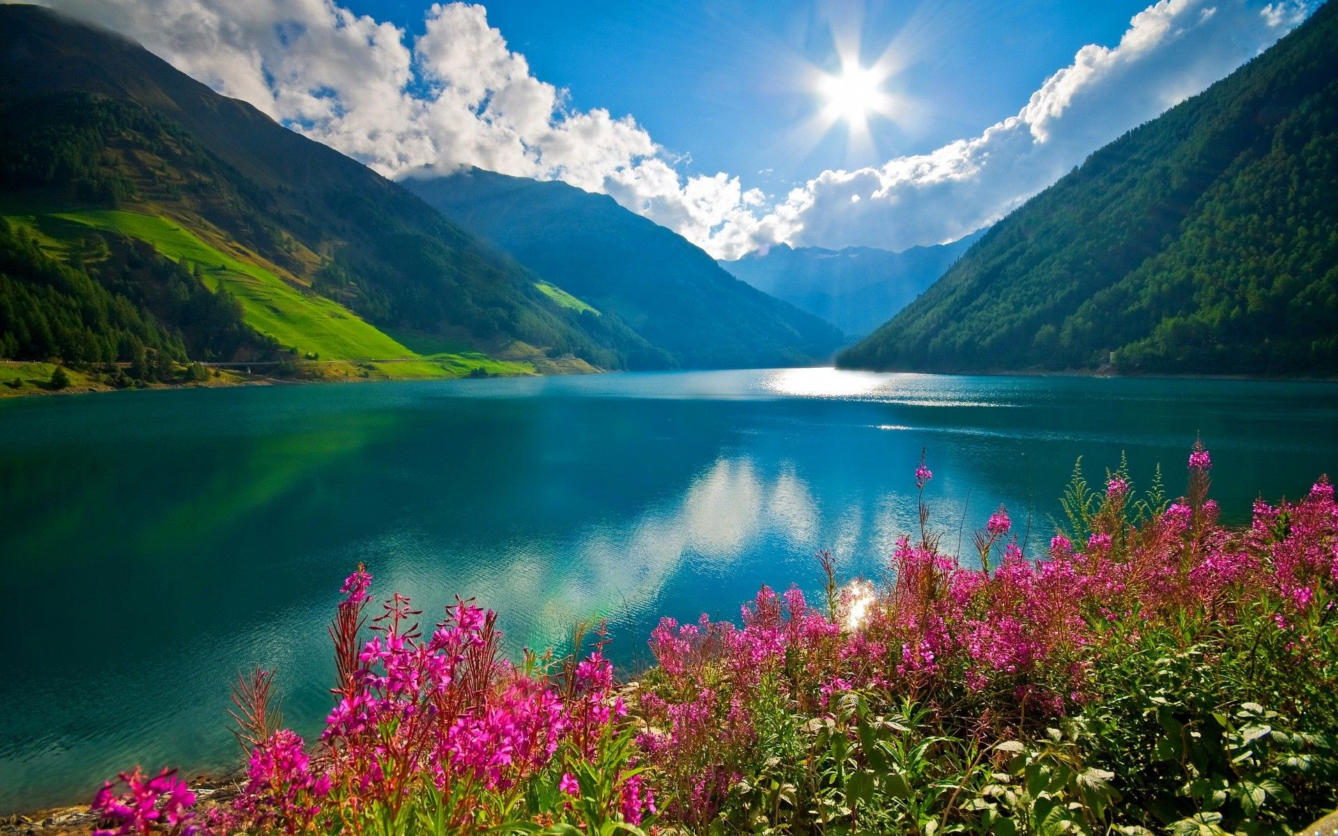 Nature Landscape Mountain River Sun Clouds Pink Flowers Austria Wallpapers Hd Desktop And Mobile Backgrounds Nature Wallpaper Sunrise Landscape Cool Pictures