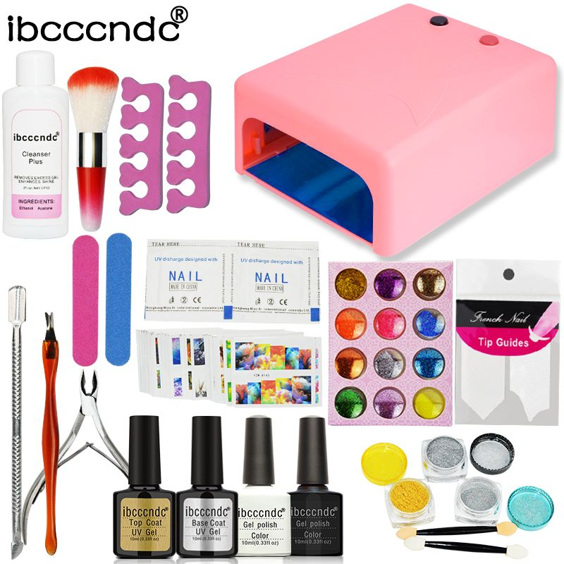 Promo Ibcccndc Nail Art Set Manicure 36w Uv Lamp 2 Color 10ml Nail