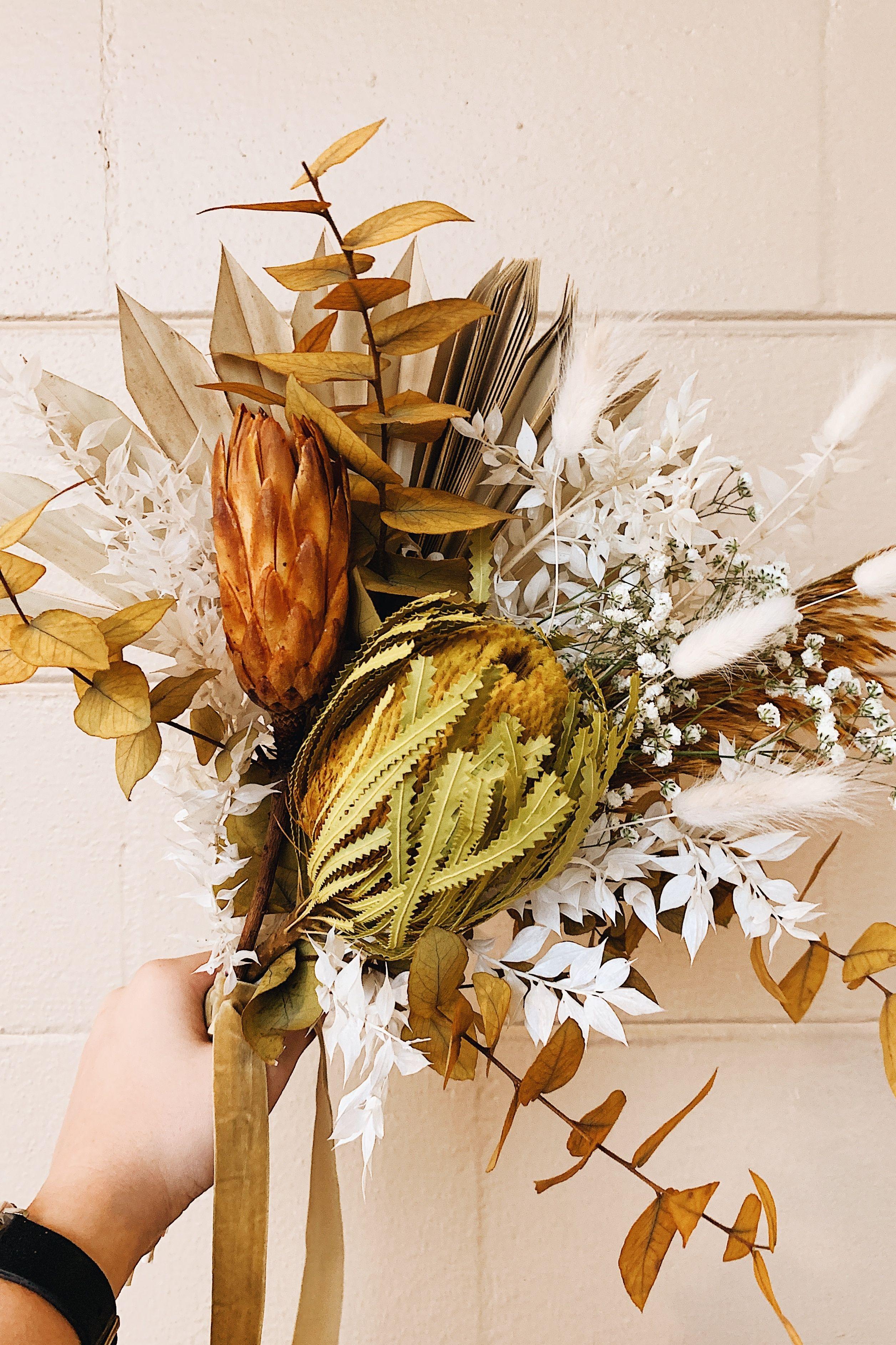 Terracotta Dried Flower Wedding Bouquet In 2020 Dried Flower Bouquet Flower Bouquet Wedding Fall Wedding Bouquets
