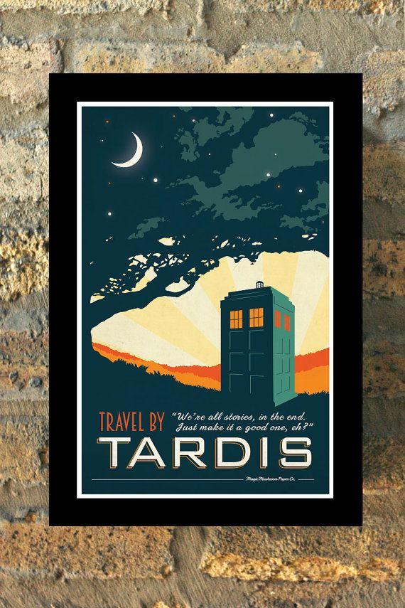 TARDIS Doctor Who Travel Poster Vintage Print Geekery Wall Art House - new blueprint coffee watson
