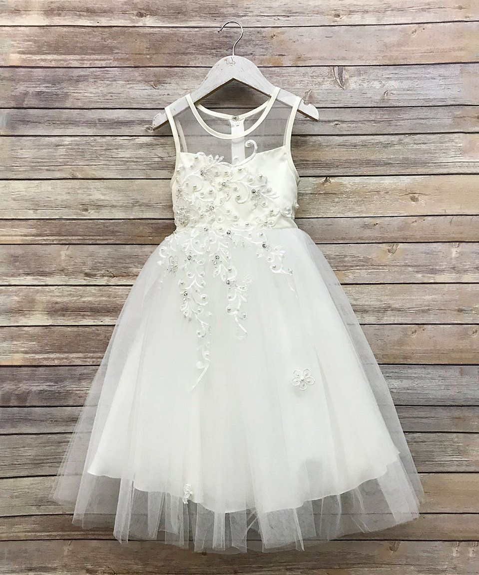 Take a look at this Precious Kids Ivory Lace & Beaded