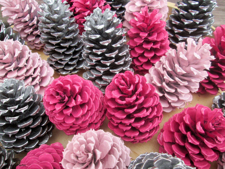 Pink Silver Pine Cone, Painted Pine Cone, Wedding Shower Pinecone, Rustic Centerpiece, Spring Mantle Shelf Decor, PineCone Flower, Zinnia 10 #pineconeflowers