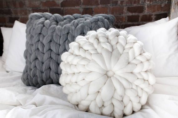 knitted cushions chunky knit pillow