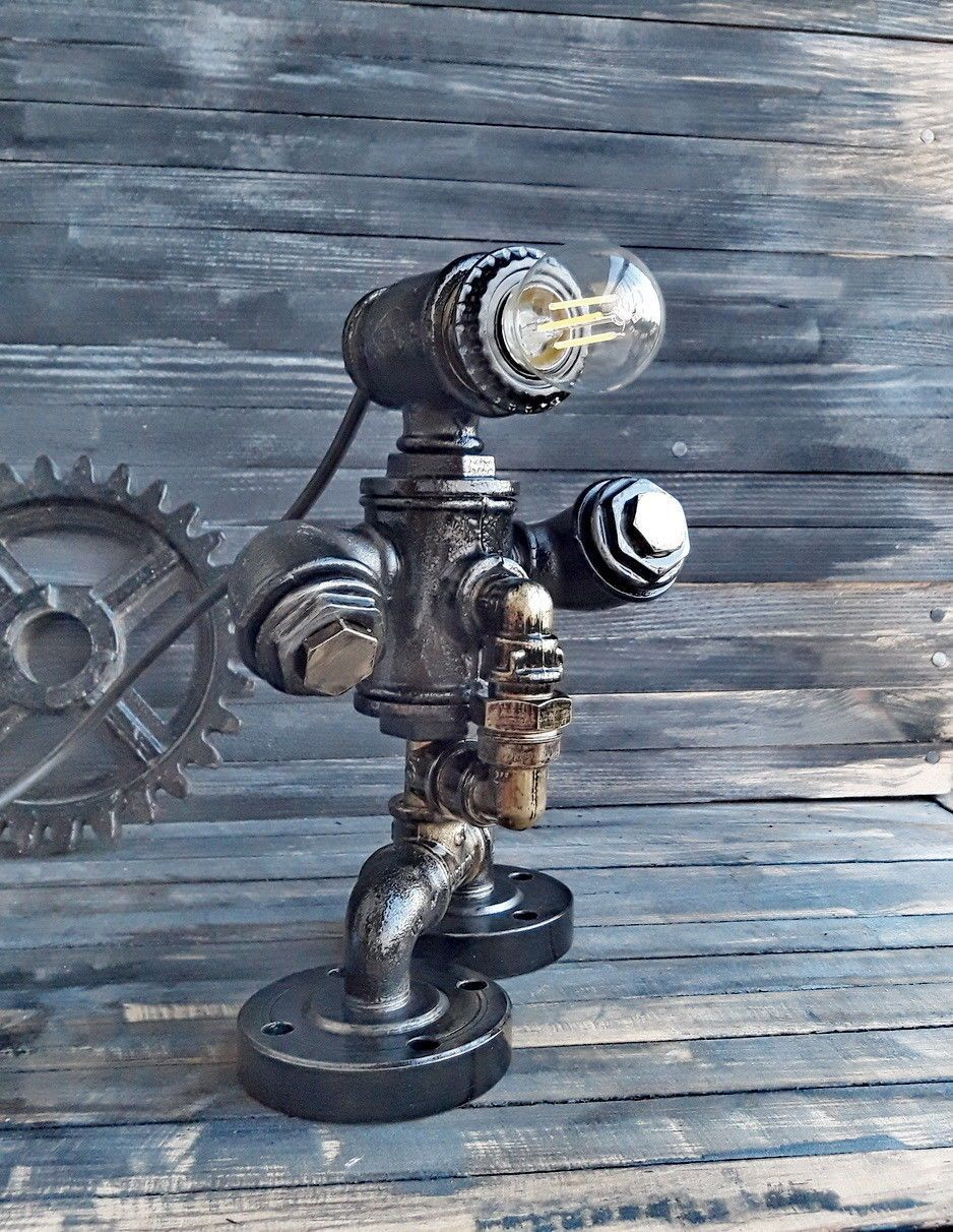 Robot lamp Teal bedside lamp Table Industrial lamp Industrial lamps ...