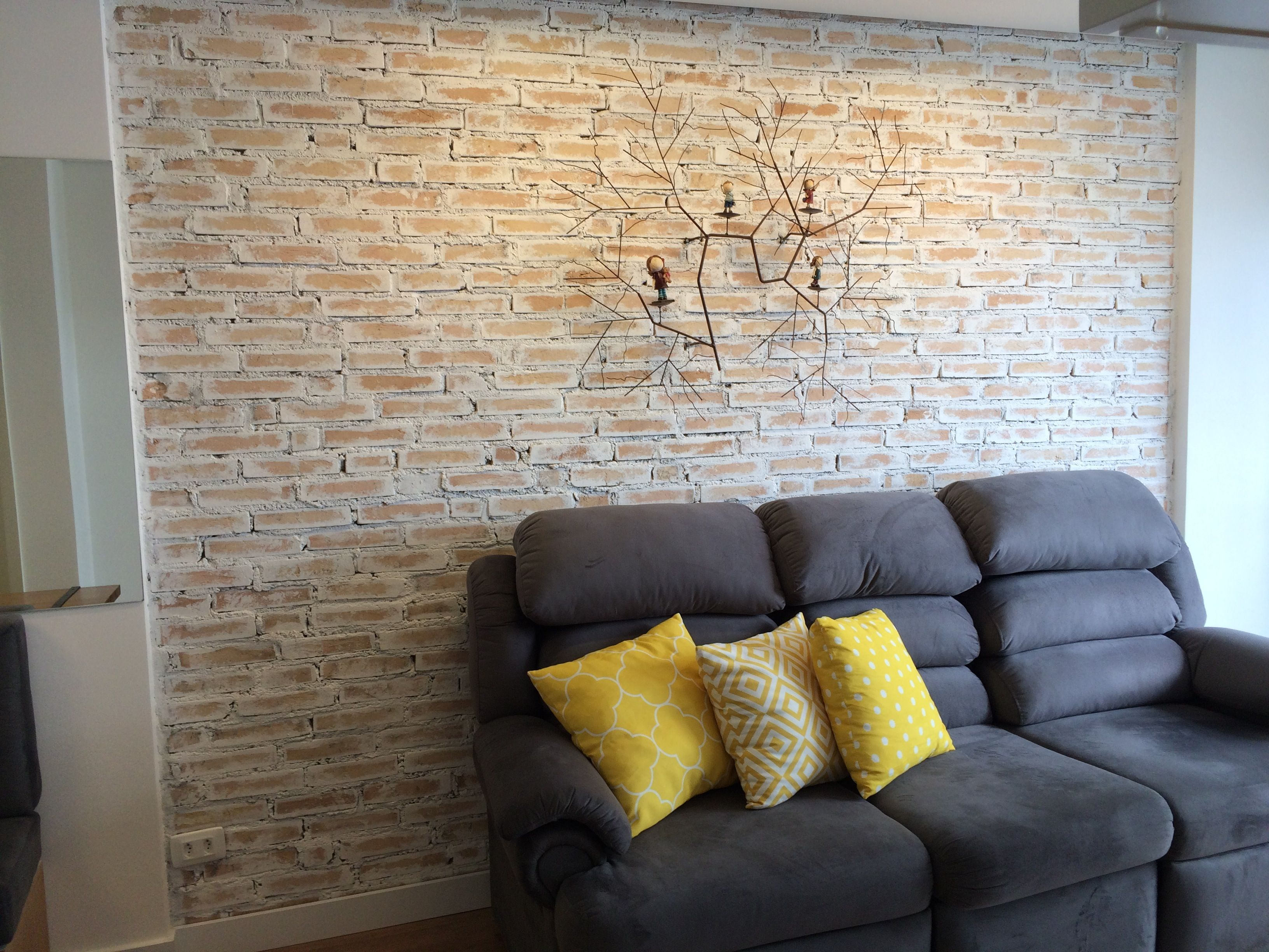 Whitewashed Exposed Brick Wall Project By Architect Maria Claudia Correa Https Www Facebook Com Mariaclaudiacor Decor Home Decor Exposed Brick