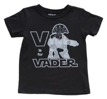 Toddler Star Wars V Is For Vader T-Shirt from T-Shirts.com for $19.99