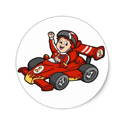 Formula 1 Car Cartoon Car Racing Classic Round Sticker Zazzle