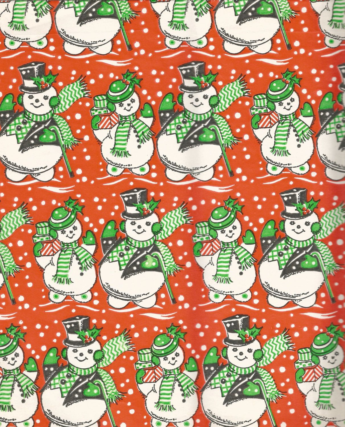 vintage christmas snowman wrapping paper digital download printable