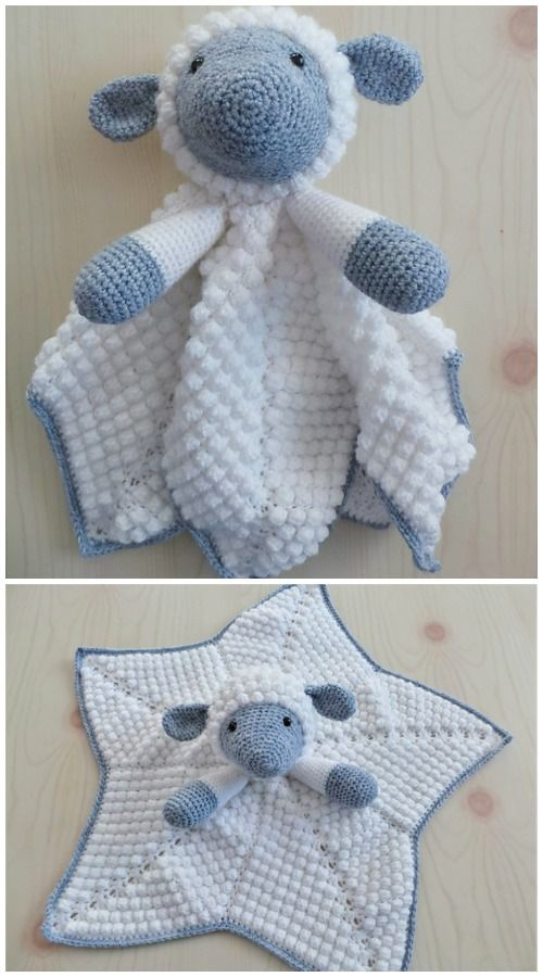 Crochet Lamb Baby Lovey Security Blanket Free Crochet Patterns #crochetsecurityblanket
