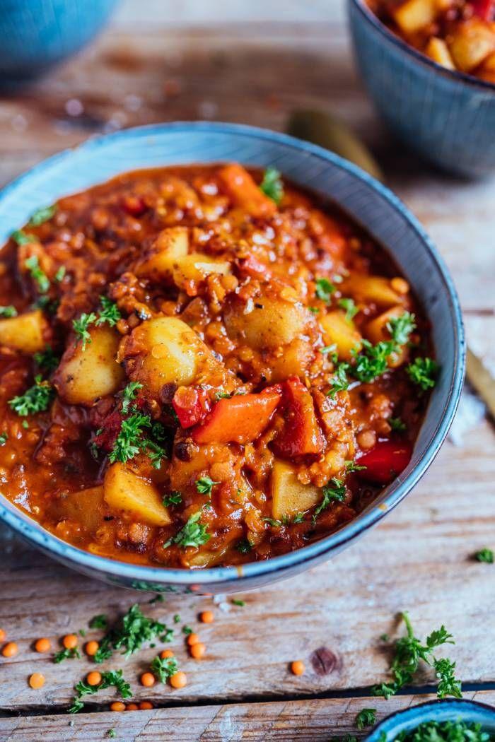Paprika-Kartoffel-Topf mit Linsen: Schnell gekocht