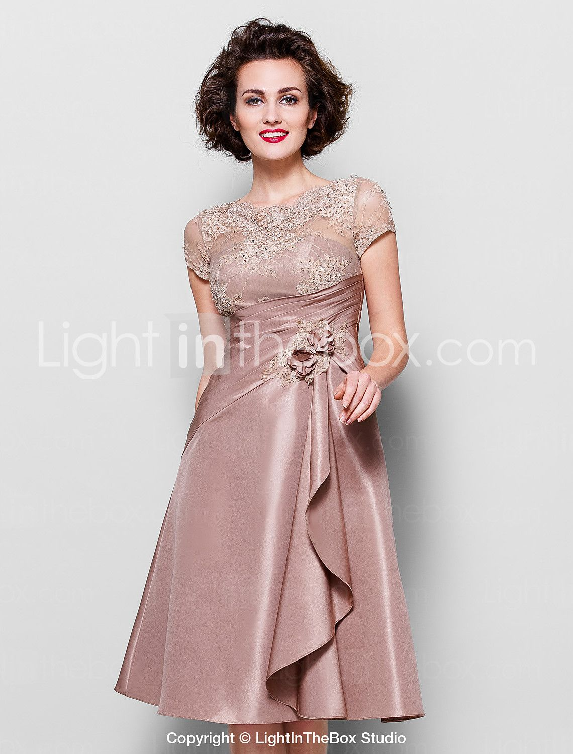 A-line Plus Sizes / Petite Mother of the Bride Dress - Brown Knee-length Short Sleeve Lace / Taffeta 2015 – $98.99
