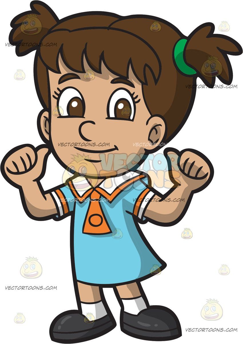 A Confident Primary School Girl In Her School Uniform Kid Clipart