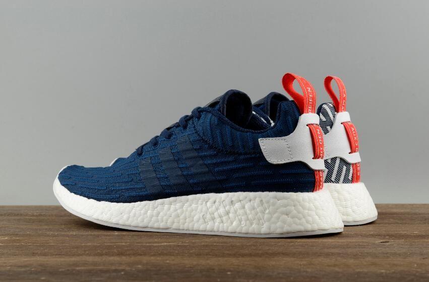 e2a729a16 Adidas Originals NMD R2 PK Real Boost Dark Blue White Men Running Shoes9