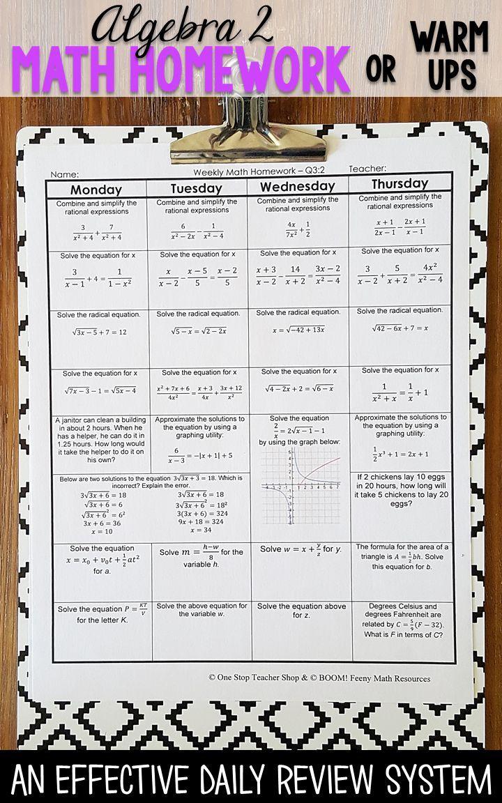 algebra 2 spiral review algebra 2 homework or warm ups algebra rh pinterest com Big Ideas Math Algebra 2 High School Algebra 2