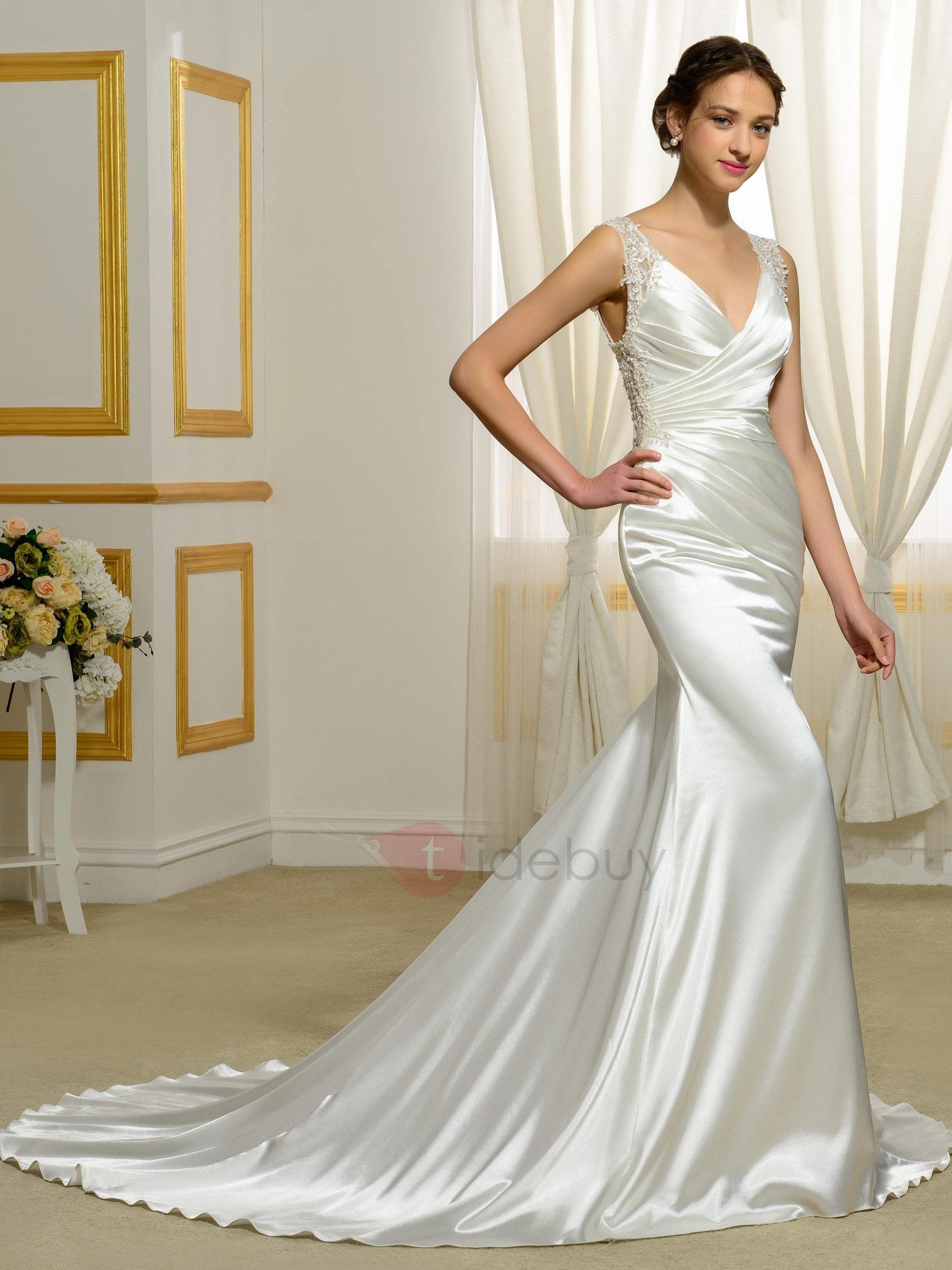 Tidebuy Offers High Quality V Neck Backless Mermaid Wedding Dress We Have More