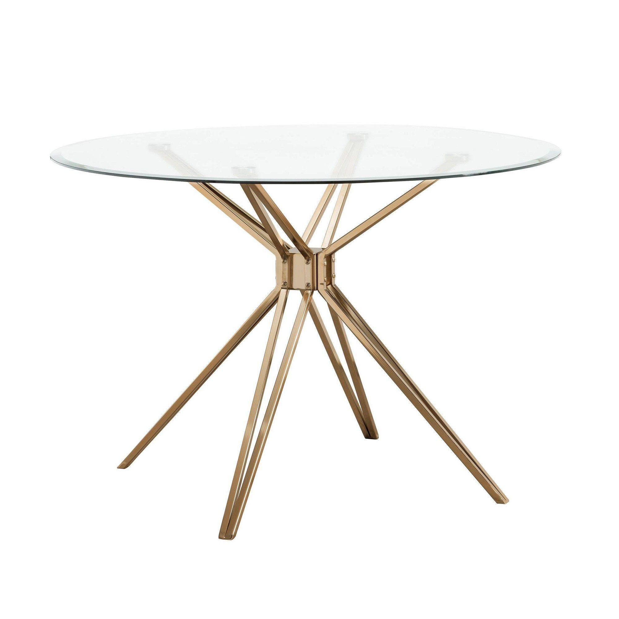 Aramar Round Dining Table Gold Aiden Lane In 2020 Glass Round